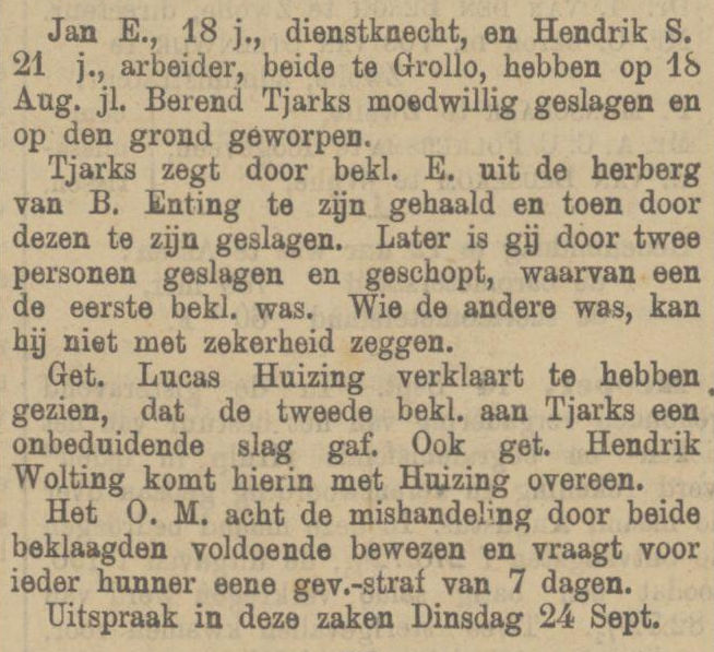 18890916 krant PDAC vechtpartij cafe Enting