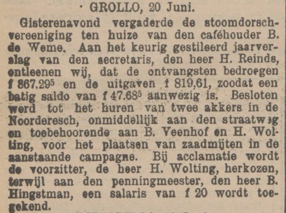 19150621 krant PDAC Stoomdorschvereeniging